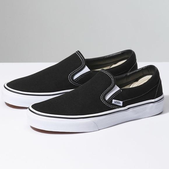 all black slide on vans